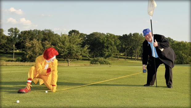 Jim Murray and Ronald McDonald at golf outing