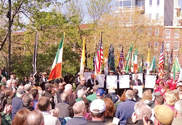 The commemoration program began at the Irish Memorial, Penn's Landing