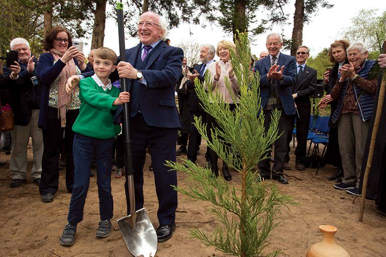 President Higgins, who is patron of Crann – 'Trees for Ireland' planted a tree, which has been named in his honor,