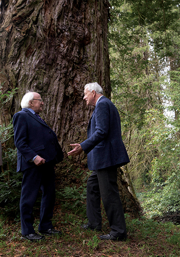 President Michael Higgins and Lord Rosse in the historic gardens of Birr Castle Demesne