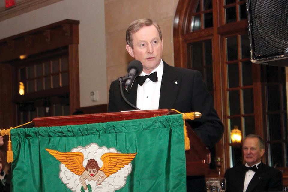 Taoiseach Enda Kenny; Friendly Sons President Joseph P. Heenan [seated]