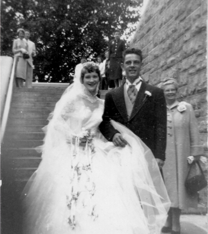 Kathleen and John Murtaugh on their wedding day at Immaculate Conception church.