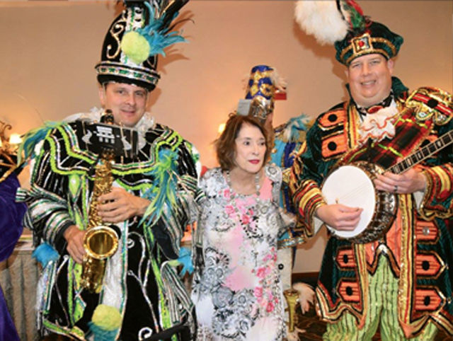 Fralinger String Band members Dave Colonna and Pat Bradley are with Kathy McGee Burns.